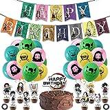 GSDJU 38 unids/Set Demon Slayer Kimetsu No Yaiba Globos Anime Demon Slayer cumpleaños Banner Pastel Topper Baby Shower Fiesta Decoraciones