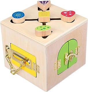 Montessori Children's Busy Board, Wooden Color Latch Box And Shape Sorter, Intellectual Development Toys