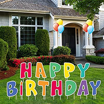 Happy Birthday Yard Sign,Happy Birthday Card Stakes 13 Pcs Party Sign Decor for Backyard,Happy Birthday Yard Signs with Stakes Celebration Weatherproof Corrugated Plastic Outdoor Party Decorations