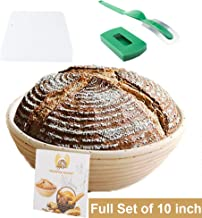Eosray 10 Inch Round Bread Proofing Basket Set + Bread Lame + Dough Scraper + Linen Liner Cloth for Professional & Home Bakers French Style Artisan Sourdough Banneton - 100% NATURAL RATTAN