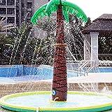 MZBZYU Tapis de Jet d'eau Palmier PVC Tapis de pulvérisation d'eau,Tapis de Jouet Aquatique de Pulvérisateur Gonflable Saupoudrer de Pataugeoire,180x150cm