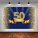 Happy 50th Birthday Party Photography Backdrop Navy Blue and Glitter Gold Background Shiny Adult Men Fifty Years Old Age Birthday Party Decorations Supplies Photo Banner Photo Studio Props 5x3ft