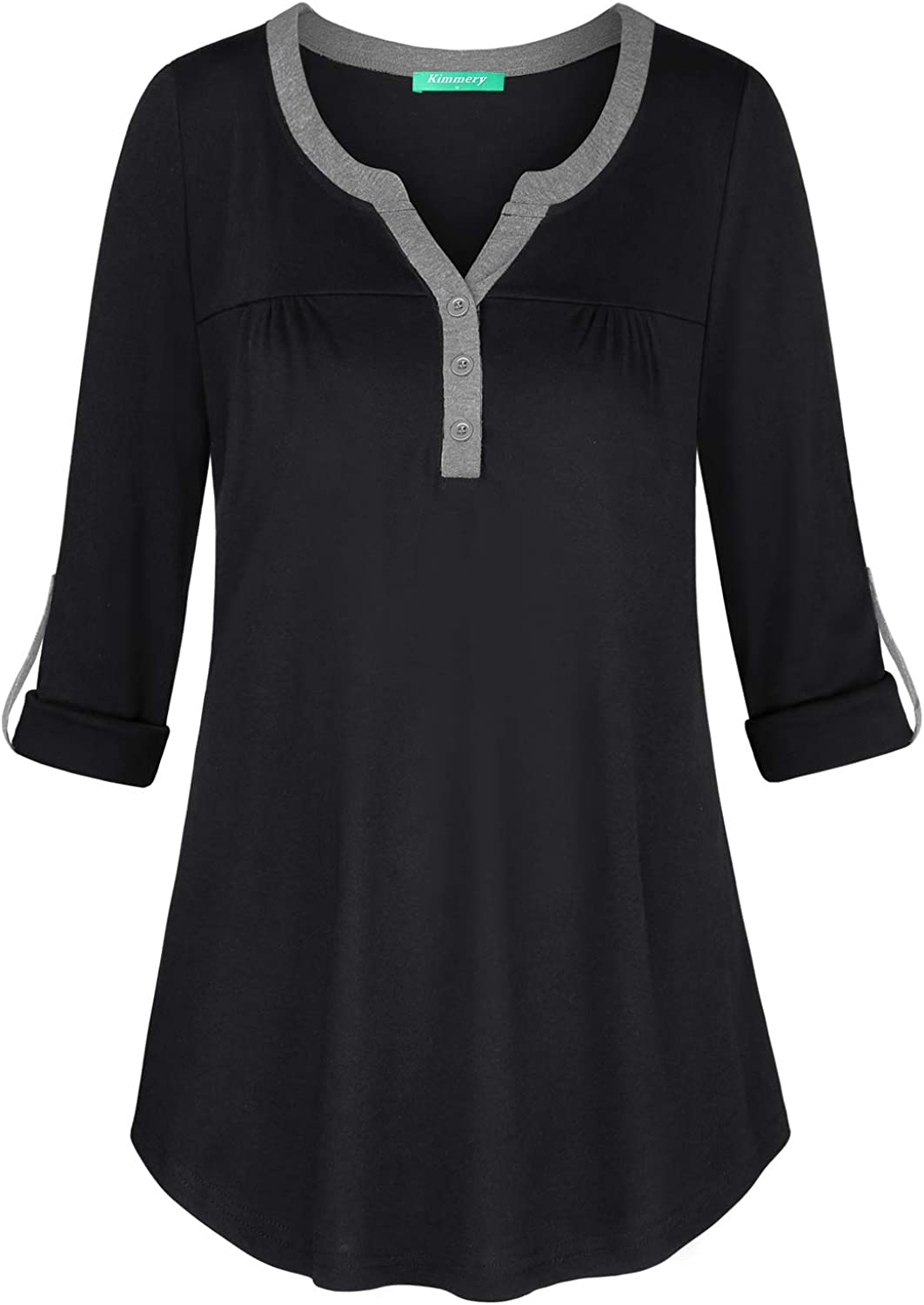 Kimmery Woman Henley Shirt Cuffed Sleeve Notch V Neck Casual Office Tunic Blouse