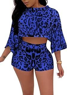 Women 2 Piece Outfit Leopard Print Half Sleeve Crop Loose Top Shorts Pants Tracksuit