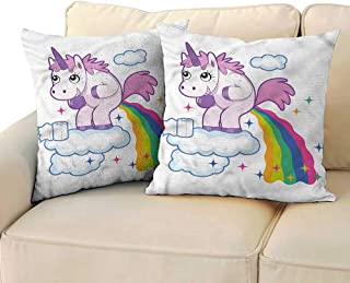 RuppertTextile Funny Customized Pillowcase Unicorn Pooping Rainbow Mildew Proof W19 x L19