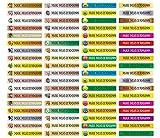 Pegatinas para lápices, bolígrafos y otros nombres, 49 x 7,5 mm, 72 unidades, para niños y adultos, escuela y guardería, 37 fondos a elegir, color 20 etiquetas de arco MIX. 72 Stück