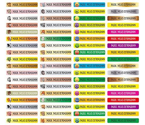 Stifteaufkleber für Bleistifte, Kugelschreiber & weiteres Namensaufkleber Namen Sticker Aufkleber 49x7,5mm   72 Stück Kinder & Erwachsene Schule & Kindergarten 37 Hintergründe in Auswahl - MIX-Bogen