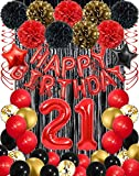 21st Red and Black Balloons Happy Birthday Party Decorations for Women Him, Happy 21st Red Happy Birthday Balloons Banner Decorations, Red Black Gold Confetti Balloons Decoration for Birthday Parties, Party Supplies for Adults, Baloons for Birthday Party, Black Foil Fringe