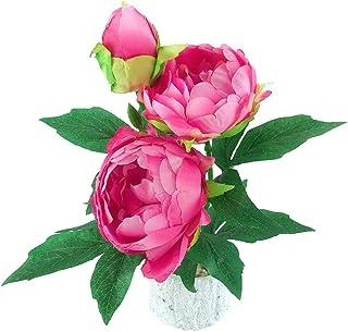BYM Artificial flower Pot set fake peony flower vase decoration indoor artificial potted home decoration (Rose)