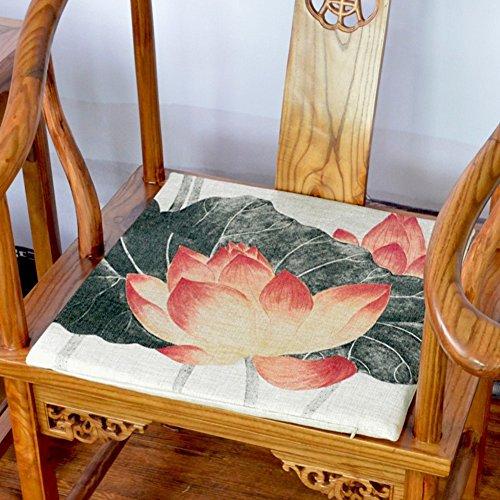 OSHDKSLDS Coussin de Chaise à Manger Chinois en Coton,Sellerie Coussin Encre Eau Lotus de l'Enseignant de thé Chambre Tapisserie-C 45x45cm(18x18inch)