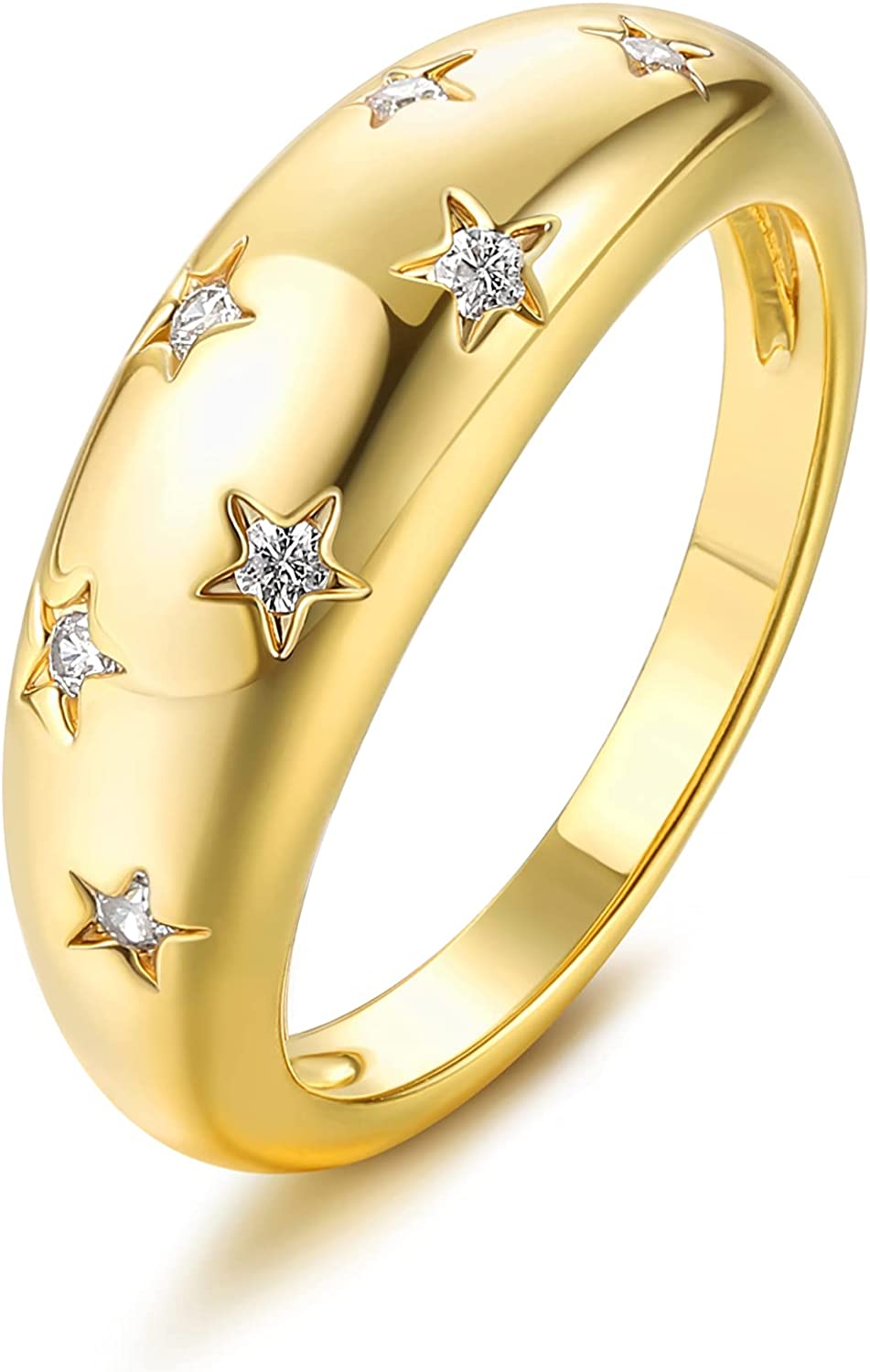 18k Gold Plated Dome Chunky Rings Croissant Rings with Cubic Zirconia Inlayed Star Shiny Chunky Rings Set Dome Thick Rings for Women Girls Jewelry Minimalist Statement Ring Size 5 to 10