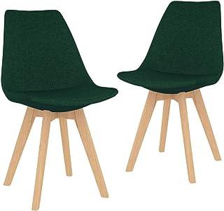 vidaXL 2X Sillas de Comedor Asiento Mobiliario Muebles Cocina Salón Sala de Estar Escritorio Acolchado Suave Respaldo Decoración Tela Verde Oscuro