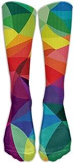 KCOUU, Calcetines KCOUU para hombre y mujer, con visión de colores brillantes, informales a media pantorrilla, para deportes atléticos, novedad por debajo de la rodilla, talla única