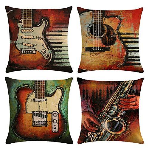 mefound 4er Set Dekorativ Kissenbezug 45 x 45cm,Retro Gitarre Muster Kissen Fällen Zuhause und Sofa Büro Dekor Kissenhülle aus Baumwolle Leinen,18X18 Inch