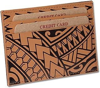 Polynesian Tattoo Leather Credit Card Holder Super Slim Wallet