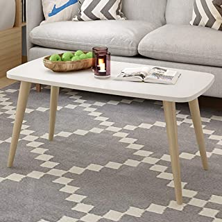 Allywit Tables Nordic Style Coffee Table Simple and Modern Small and Medium-Sized Fashion Coffee Table Rectangular Arc Table Solid Wood Tables 39.3719.68 Inch (White)