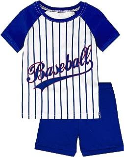 Image of Blue Baseball Pajama Shorts Set for Boys and Toddler Boys