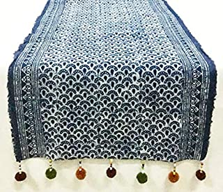 Yositashop North of Thailand Handcraft Natural Cotton Table/Bed Runner with Lovely Pompoms. Size : 15