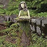 1/2Stücke Sherwood Fern Fairy Farnfee Statuen mit VogelhäUschen,Lustige Statue Resin Goddess 2 in 1 Kolibri Bird Feeder and Modern Portrait Gartenskulpturen Kunstharz Figuren Decorations (1Stick)