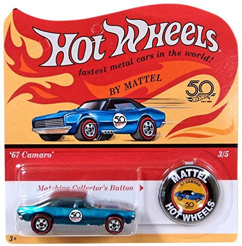 Hot Wheels 2018 50th Anniversary Originals 3/5 - \'67 Camaro (Blue) with Button