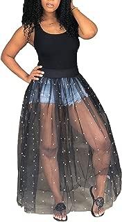 Womens Sexy Beading Sheer Skirt Bodycon Tank Top Maxi Dress Clubwear