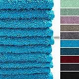 Lumaland Premium Set 10 toallitas Suaves Bidet 30 x 30 Hechas de 100% algodón 500 g/m² con Cinta para Colgar Turquesa