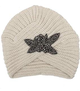 Mujeres SeñOras Caliente Invierno Cuatro Hojas Cuentas De Lana De Flores Sombrero Indio Sombrero Diadema De Punto Crochet Boina Gorro Gorra 1PCS
