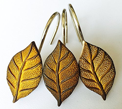 Twofishes 12 PCS golden leaf Home Fashion Decorative Rust Proof Shower Curtain hooks