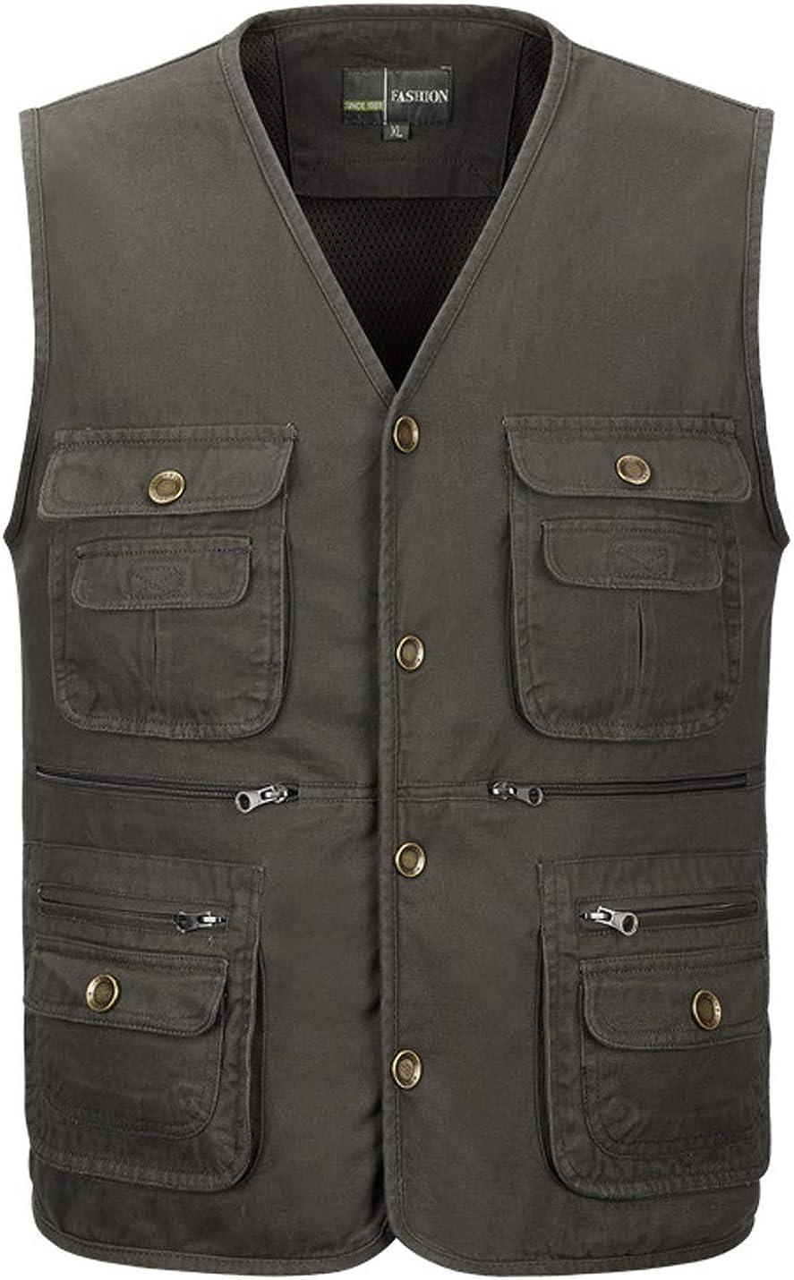 Gihuo Men's Cotton Multi-Pocket Safari Fishing Travel Vest