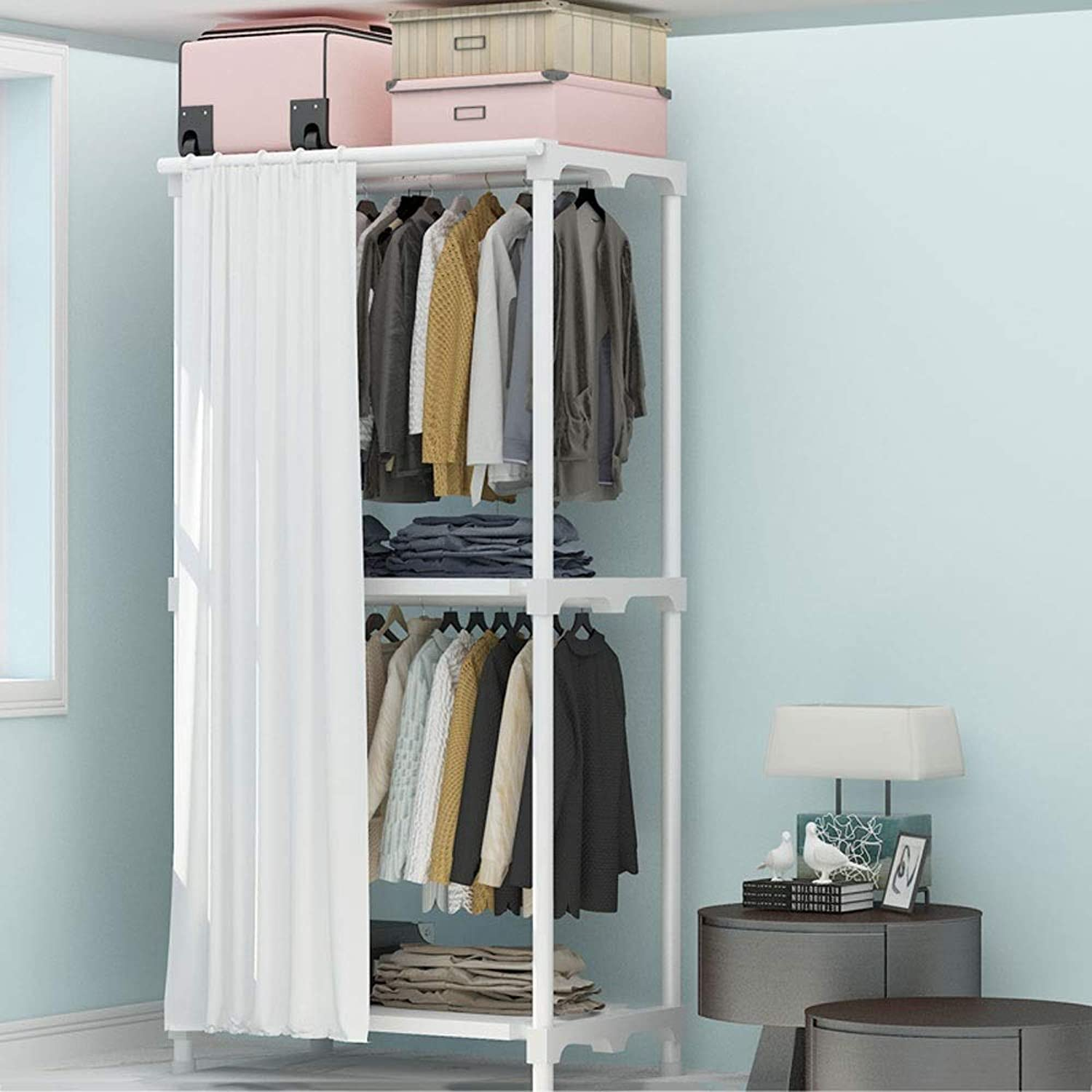 Simple Coat Rack with Curtains Bedroom Metal Hangers Floored Home Partition Racks 25mm Thick Tubes Large Capacity (color   White, Size   65x45x170cm)
