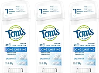 Tom's of Maine Long-Lasting Aluminum-Free Natural Deodorant for Women, Unscented, 2.25 oz. 3-Pack