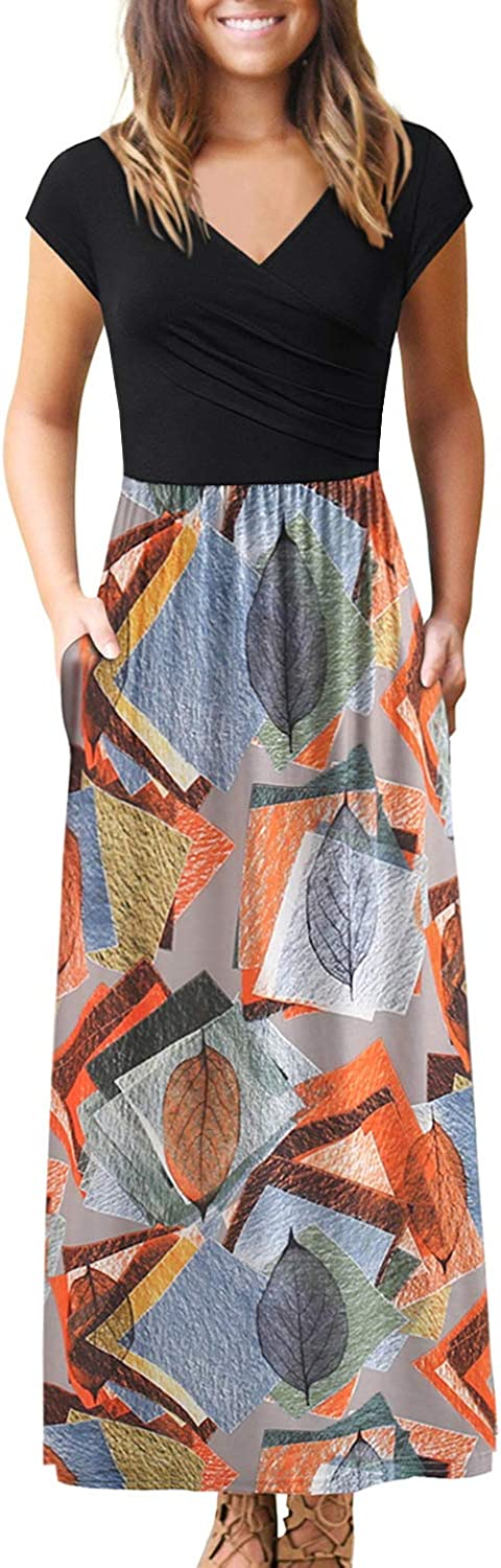BOKALY Women's Dresses with Pockets V Neck Floral Print Pleated Long Maxi Casual Midi Dress BK398