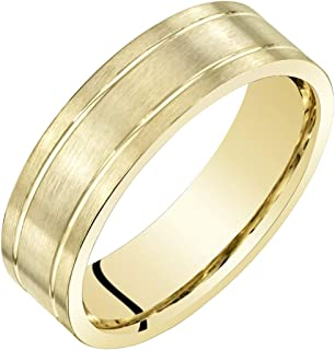 Mens 14K Yellow Gold Wedding Ring Band 6mm Classic Brushed Matte Comfort Fit Sizes 8 to 14
