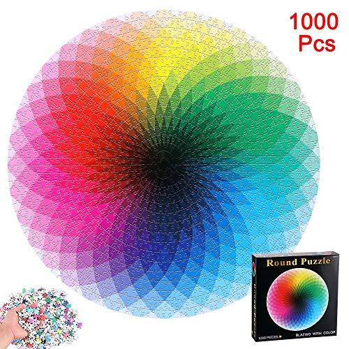 Amecty 1000 Pcs Farbverlaufspuzzle, runde Puzzles Buntes Regenbogenpuzzle Lernspiel Stressabbau für Erwachsene Kinder