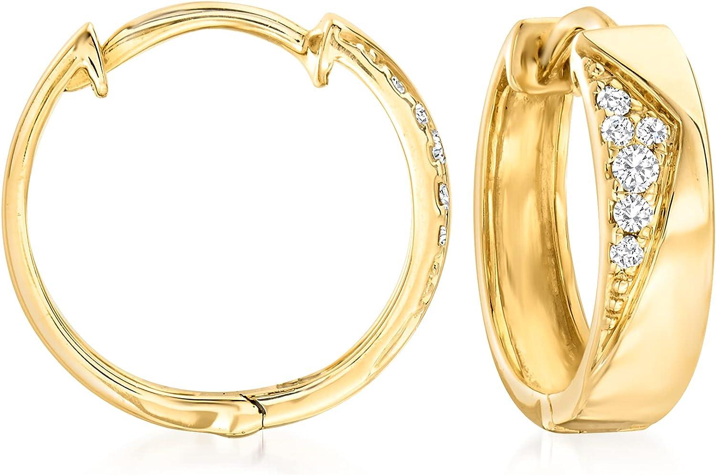 Ross-Simons 0.10 ct. t.w. Diamond Hoop Earrings in 14kt Yellow Gold
