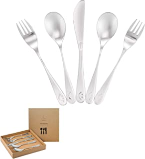 Premium Stainless Steel Kids Utensil Set, 5 Piece: 2 Forks, 2 Spoons, 1 Knife. Highest Quality, Lifetime