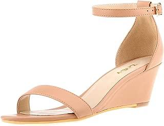 Women's Ankle Strap Buckle Mid Wedge Platform Heeled Sandals 8CM Summer Dress Sandals Pump Shoes