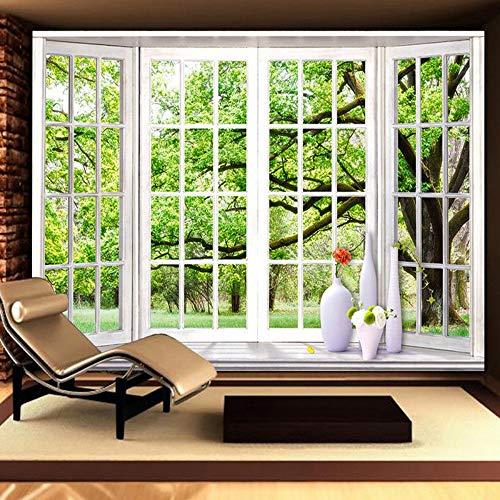 Behang, eigen 4D wallpaper in liggend formaat groen bos vensterbank kunstdruk wandschilderij poster afbeelding foto Hd afdrukken voor TV-krollige slaapkamer woonkamer wanddecoratie grote zijde wandafbeelding 300cm(H)×500cm(W)
