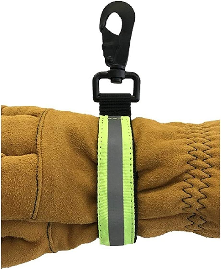 Super intense SALE LINE2design Heavy Duty Max 62% OFF Firefighter Glove Green with Strap Reflec