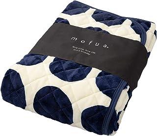 mofua(モフア) 敷きパッド サークル柄ネイビー シングル マイクロファイバー 静電気防止加工 洗える 500101R2