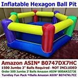 My Bouncer Hexagon Family Size Ball Pit Popper - Great for Indoor Use - 103' L x 103' W x 37' H w/ Blower Pump (This is not a Bounce House, min 1,500pcs Jumbo 3' Balls Recommended/Required)