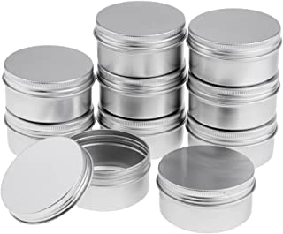 Baoblaze 10pcs 80G Refillable Silver Round Empty Aluminum Metal Tin Mini Jar Container with Clear Cap Lid for Candle, Beauty, Skincare, Cosmetics, Make Up, Balm, Salves