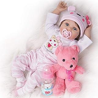Muñeca Reborn Bebe Niña Silicona Realista 55 cm Vestimenta de Blanco y Rosa