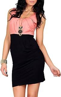 FUTURO FASHION® Subtle 8427 - Vestido sin mangas para mujer, tejido de algodón, bloque de color, tallas 38-48