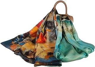 FELOVE sciarpa seta donna 100% Naturale di Gelso di Seta Multiuso Sciarpe di Raso Floreale Le Signore di eleganti foulard