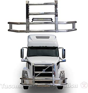 Longroadaccess Front Bumper Grille Guard for Volvo Semi Truck. Truck Grille Guard, Deer Guards for Volvo Semi Trucks - Fits Volvo Vnl 2004-2017 22 inch 120W LED Bar Included
