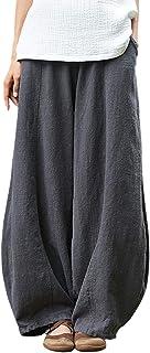 Women's Casual Cotton Linen Baggy Pants with Elastic...