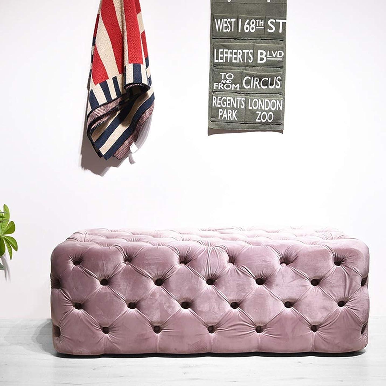 基礎津波カレンダーベルベットタフテッドオットマン、金属ベース、マイクロファイバーコーヒーテーブル、ソリッドウッドフレーム、フットスツールソフトクッション布張りタフトリビングルーム出入口、ベッドルーム (Color : Pink)