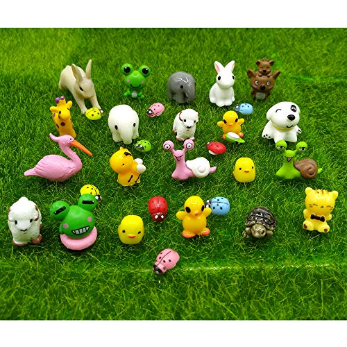 EMiEN 31 Pieces Mini Animals Miniature Ornament Kits,Tiny Animals Figurines,Fairy Garden Accessories,Fairy Garden Supplies,Fairy Garden Animals For Fairy Garden,Dollhouse,Plant Pots,Bonsai Craft Decor