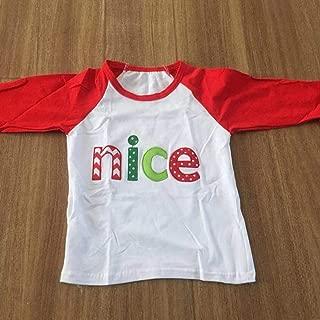 Nice T-Shirts for Santa Girls Christams T-Shirts Naughty Children Shirts Raglan T-Shirts